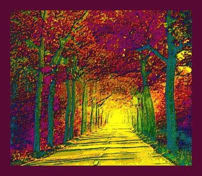 Abstract Decorative Hazy French Autumn Drive With Border Poster by L Brown