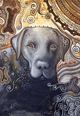 Poster featuring the painting Abstract Dog Art Print ... Rudy by Amy Giacomelli