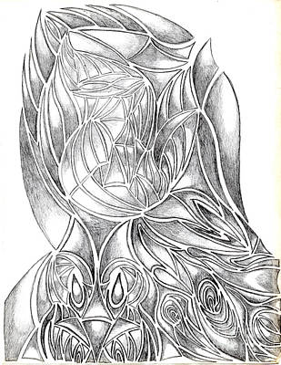 Abstract Drawing Owl Hands Roses Poster