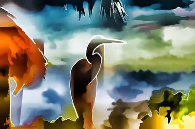 Abstract Egret Profile Poster by Pamela Blizzard