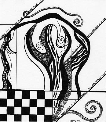 Abstract Figure In Black And White 2 Poster by Christine Perry