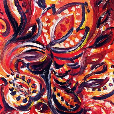 Abstract Floral Khokhloma Summer Breeze  Poster by Irina Sztukowski