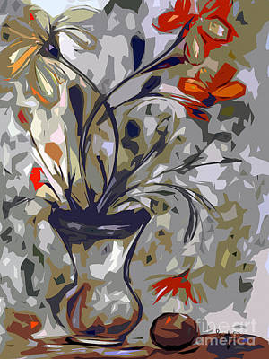 Abstract Floral Still Life Red And Neutral Colors Poster by Ginette Callaway