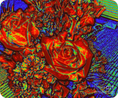 Abstract Flowers Compliments Poster