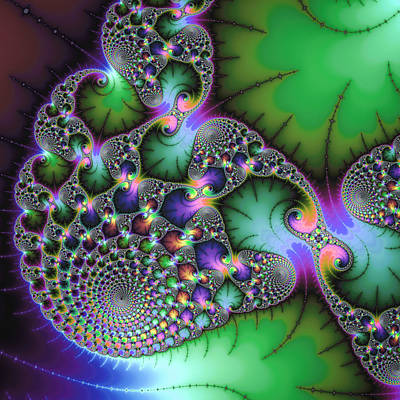 Abstract Fractal Art Green Purple Jewel Colors Square Format Poster by Matthias Hauser