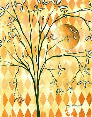 Abstract Harlequin Diamond Pattern Painting Original Landscape Art Moon Tree By Megan Duncanson Poster by Megan Duncanson