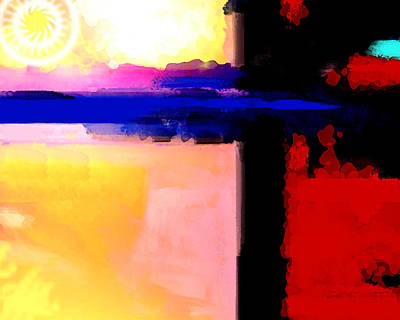 Abstract Impressions Of A Blue Horizon Poster by Karon Melillo DeVega