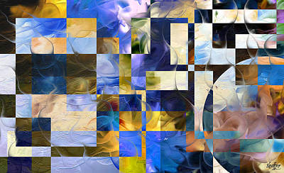 Poster featuring the painting Abstract In Blue And White by Curtiss Shaffer