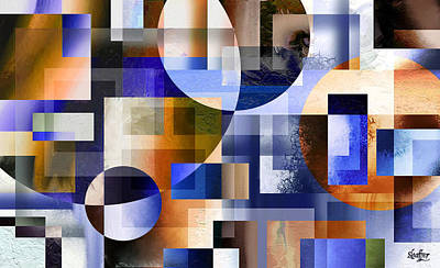 Poster featuring the painting Abstract In Blue by Curtiss Shaffer