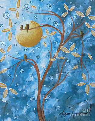 Abstract Landscape Bird Painting Original Art Blue Steel 1 By Megan Duncanson Poster by Megan Duncanson
