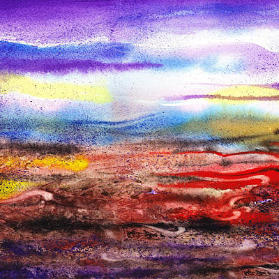Abstract Landscape Purple Sunrise Early Morning Poster