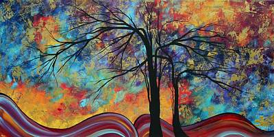 Abstract Landscape Tree Art Colorful Gold Textured Original Painting Colorful Inspiration By Madart Poster by Megan Duncanson