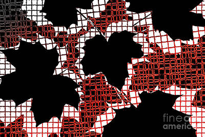 Abstract Leaf Pattern - Black White Red Poster by Natalie Kinnear