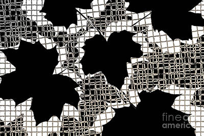Abstract Leaf Pattern - Black White Sepia Poster