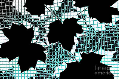 Abstract Leaf Pattern - Black White Turquoise Poster by Natalie Kinnear