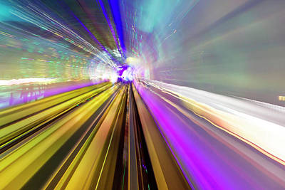 Abstract Light Trails Of Underground Poster