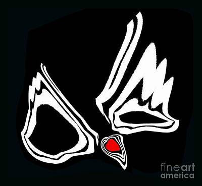 Minimalism Art Black White Red Heart No.34. Poster by Drinka Mercep