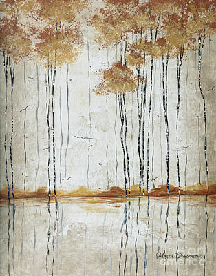 Abstract Neutral Landscape Pond Reflection Painting Mystified Dreams I By Megan Ducanson Poster by Megan Duncanson
