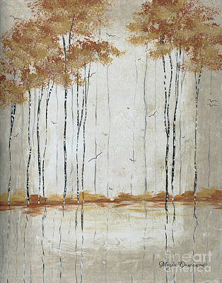 Abstract Neutral Landscape Pond Reflection Painting Mystified Dreams II By Megan Ducanson Poster by Megan Duncanson