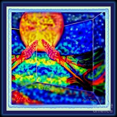 Abstract Of Dragonfly In A House Of Mirrors With Melting Moon Poster