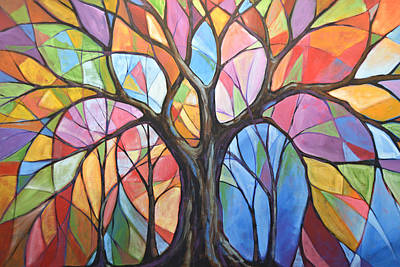 Poster featuring the painting Abstract Original Tree Art Painting ... Colors Of The Wind by Amy Giacomelli