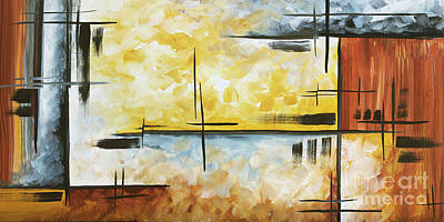 Abstract Painting Chocolate Brown Golden Yellow And Gray Art Colors Of The Horizon By Madart Poster