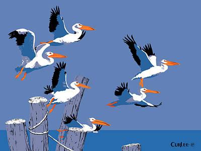 abstract Pelicans seascape tropical pop art nouveau 1980s florida birds large retro painting  Poster by Walt Curlee