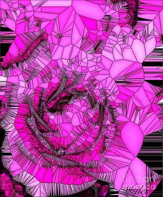 Abstract Pink Rose Mosaic Poster