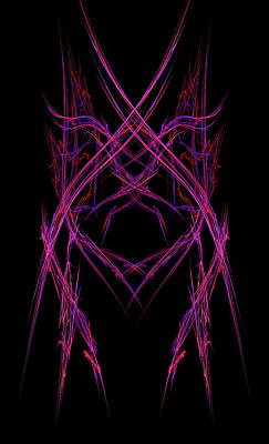 Abstract Purple Alien Face On Black Background Poster by Keith Webber Jr