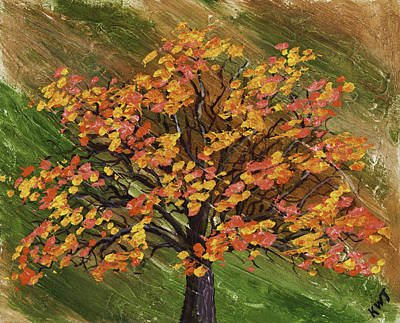 Abstract Red And Orange Tree Painting Poster by Keith Webber Jr