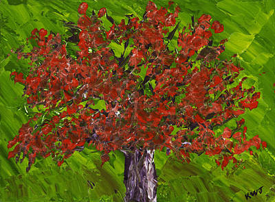 Abstract Red Maple Tree Painting Poster by Keith Webber Jr
