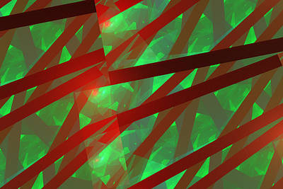 Abstract Tiled Green And Red Fractal Flame Poster