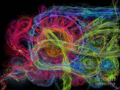 Abstract Virus Budding Painterly 1 Poster by Russell Kightley