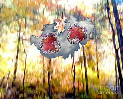 Abstract West Fork Autumn Bell Rock Heart Cloud Poster by Marlene Rose Besso