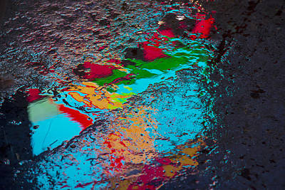 Abstract Wet Pavement Poster by Garry Gay