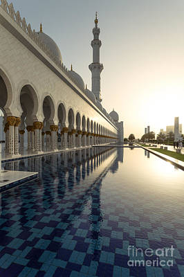 Abu Dhabi Grand Mosque At Sunset Poster by Matteo Colombo