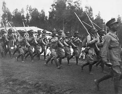 Abyssinian Troops Marching Poster by Underwood Archives