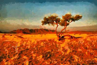 Poster featuring the digital art Acacia Tree In Namibia by Kai Saarto