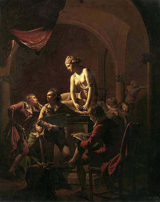 Academy By Lamplight, Joseph Wright Of Derby Poster