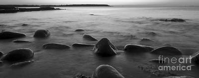 Acadia National Park Shoreline Sunrise Wakeup Black And White Poster