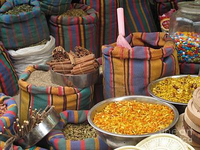 Poster featuring the photograph Acco Acre Israel Shuk Market Spices Stripes Bags by Paul Fearn
