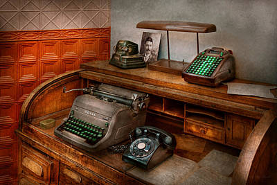 Accountant - Typewriter - The Accountants Office Poster by Mike Savad