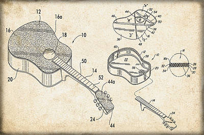 Acoustic Guitar Patent Poster by Bill Cannon