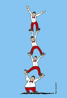 Acrobatic Human Pyramid Poster