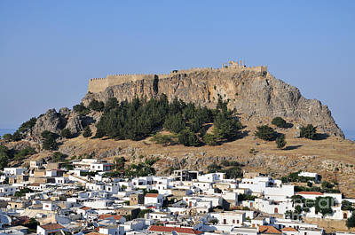 Acropolis And Village Of Lindos Poster by George Atsametakis