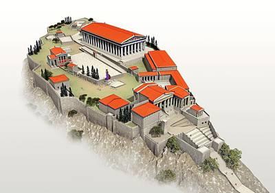 Acropolis Poster by Jose Antonio Pe�as