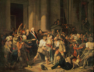 Act Of Courage Of Monsieur Defontenay, Mayor Of Rouen, 29th August 1792 Oil On Canvas Poster