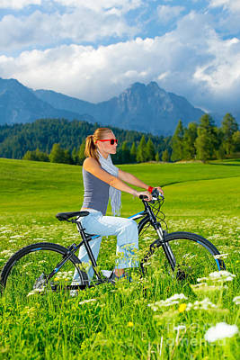 Active Woman On Bicycle In Mountains Poster by Anna Om