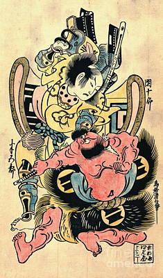 Actors Danjuro And Hangoro 1736 Poster by Padre Art