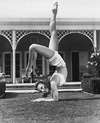 Actress Vera Zorina Exercising Poster by Underwood Archives